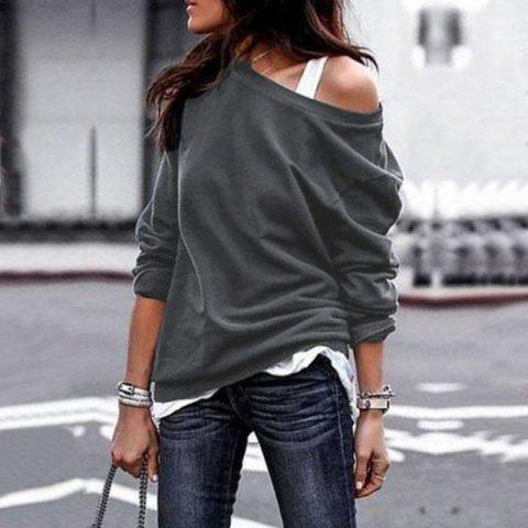 2018 Fall and Winter Fashion Round Collar Long-Sleeved Blouse - DARK GRAY M