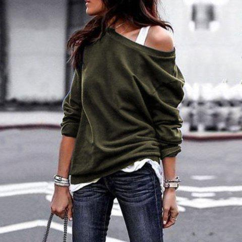 2018 Fall and Winter Fashion Round Collar Long-Sleeved Blouse - ARMY GREEN 2XL