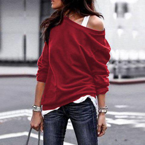 2018 Fall and Winter Fashion Round Collar Long-Sleeved Blouse - RED WINE XL