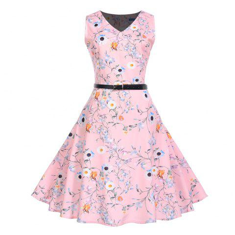 Fashion Womens Flower Print Criss Cross Gown Evening Party Dress - multicolor G M