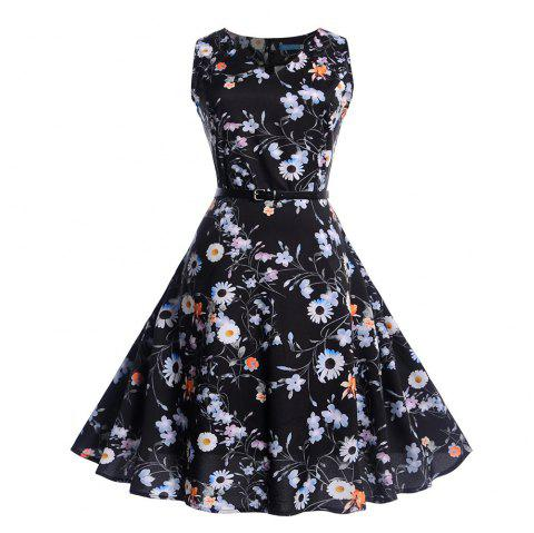 Fashion Womens Flower Print Criss Cross Gown Evening Party Dress - multicolor F XL