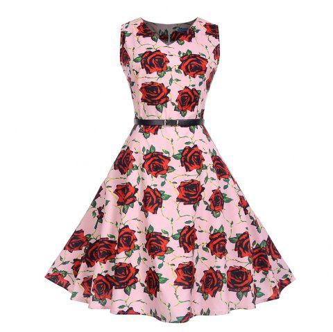 Fashion Womens Flower Print Criss Cross Gown Evening Party Dress - multicolor I L