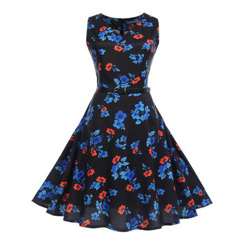 Fashion Womens Flower Print Criss Cross Gown Evening Party Dress - multicolor A S