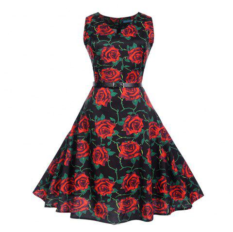 Fashion Womens Flower Print Criss Cross Gown Evening Party Dress - multicolor J S