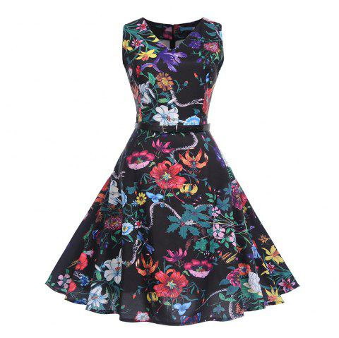 Fashion Womens Flower Print Criss Cross Gown Evening Party Dress - multicolor C M