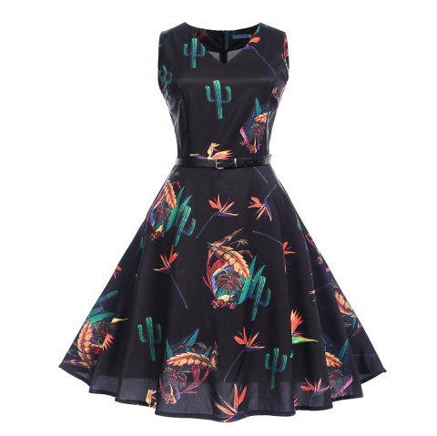 Fashion Womens Flower Print Criss Cross Gown Evening Party Dress - multicolor D S