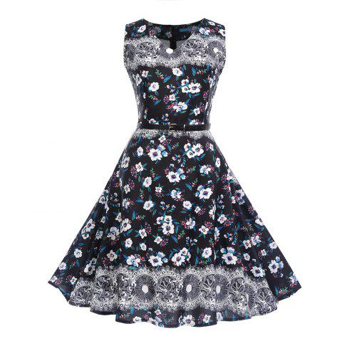 Fashion Womens Flower Print Criss Cross Gown Evening Party Dress - multicolor B 2XL