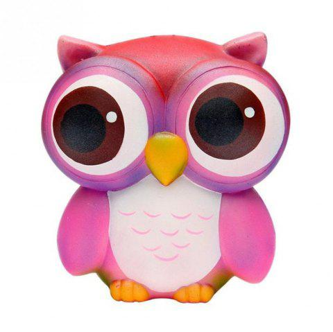 Squishies Slow Rising Jumbo Kawaii Colorful Owl Creamy Scent for Kids - ROSE RED