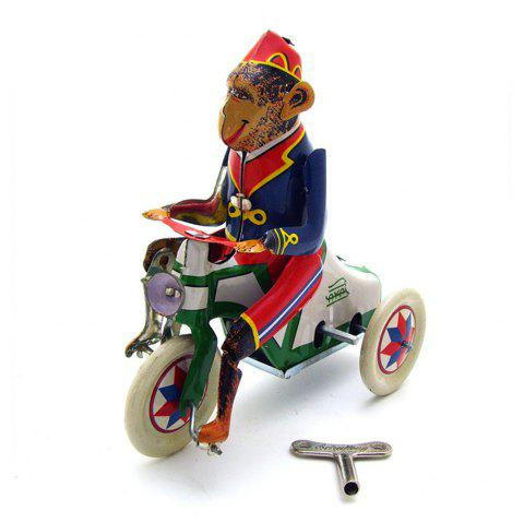 Wind Up Monkey Riding  Car Model Clockwork Kids Play Toys Collectible - multicolor