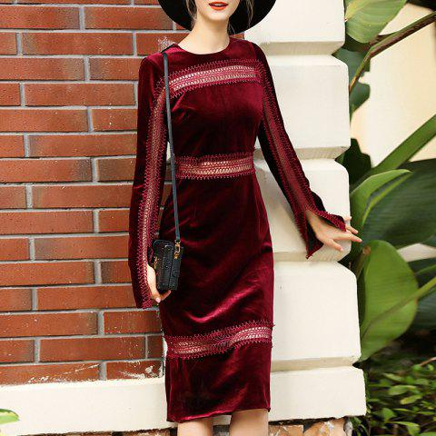 A Stylish Cosy Turtleneck Dress - RED WINE L