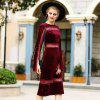 A Stylish Cosy Turtleneck Dress - RED WINE M