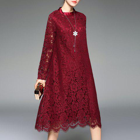 A Stylish Round Collar Lace Dress - RED WINE M