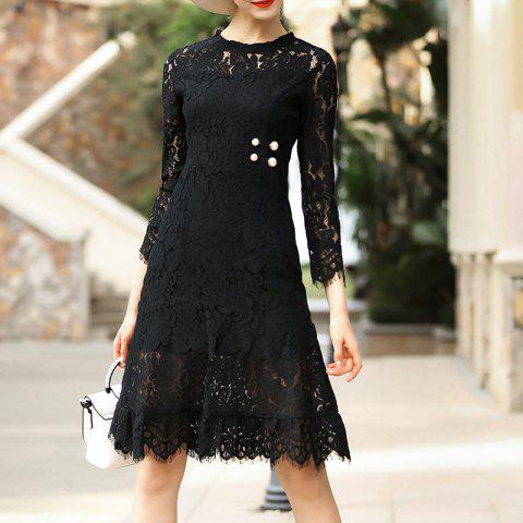Fashion Round Collar Lace Waist Nail Beads Dress - BLACK M