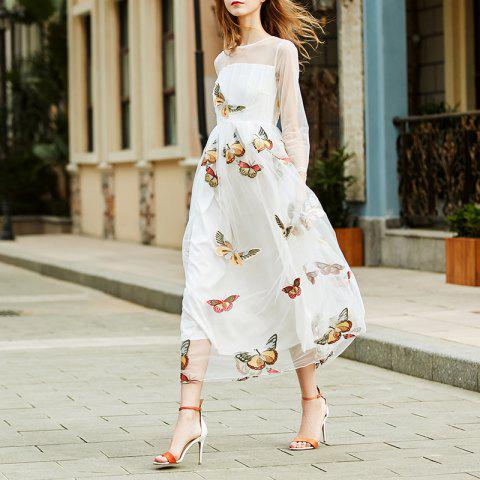 Fashion Round Collar Lace Butterfly Dress - WHITE L