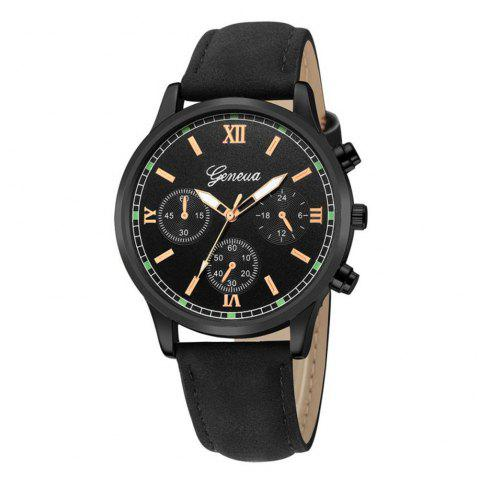 GENEVE Men Classic Business Casual Montre à quartz en cuir - multicolor A