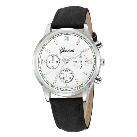 GENEVE Men Classic Business Casual Montre à quartz en cuir - multicolor E
