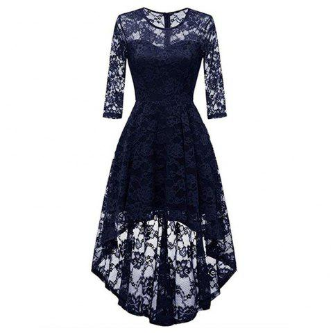 Women's Wear Cocktail Lace Dress - CADETBLUE XL