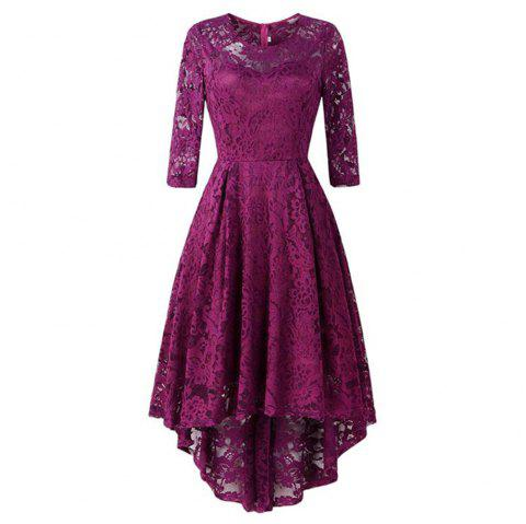 Women's Wear Cocktail Lace Dress - PLUM VELVET L