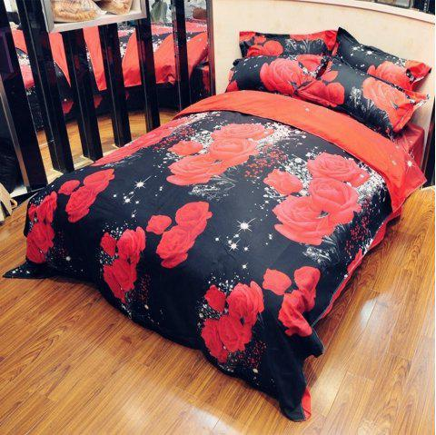 Explosion Models 3D Red Rose Bedding Two Or Three Sets - multicolor A QUEEN SIZE
