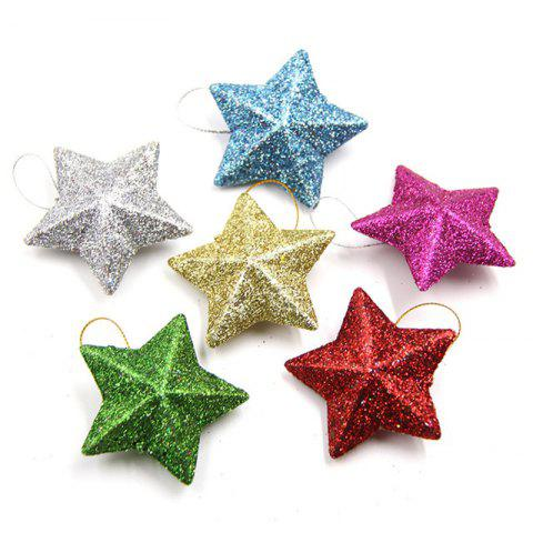 6PCS/Lot 5CM DIY Gillter Stars Christmas Pendant Ornament - multicolor