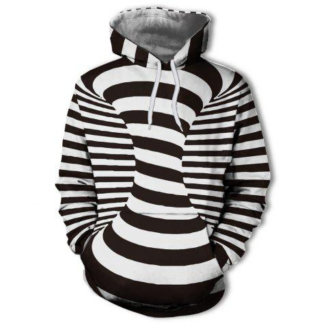 New Fashion European and American Men'S 3D Printing Black and White Hoodie - multicolor L