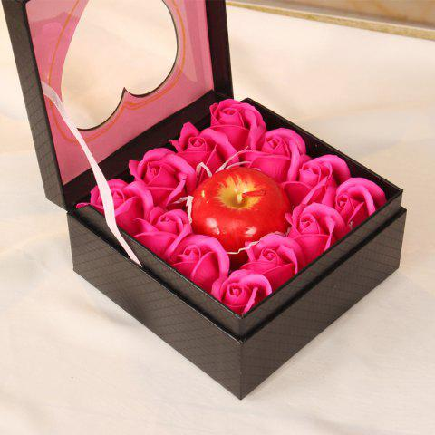 Simulation Aromatherapy Apple Candle 12 Soap Rose Flower Gift Box Holiday Gift - ROSE RED