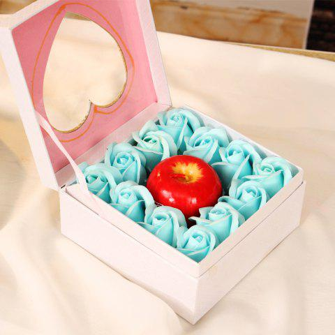 Simulation Aromatherapy Apple Candle 12 Soap Rose Flower Gift Box Holiday Gift - LIGHT BLUE