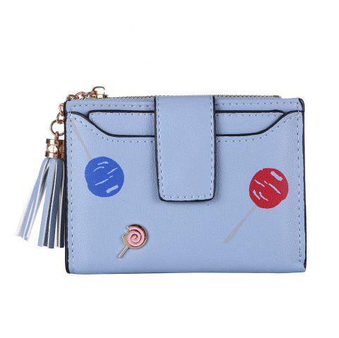 New Women'S Wallet Printing Pattern Solid Color Wallet Card Bag Purse - LIGHT SKY BLUE ONE SIZE