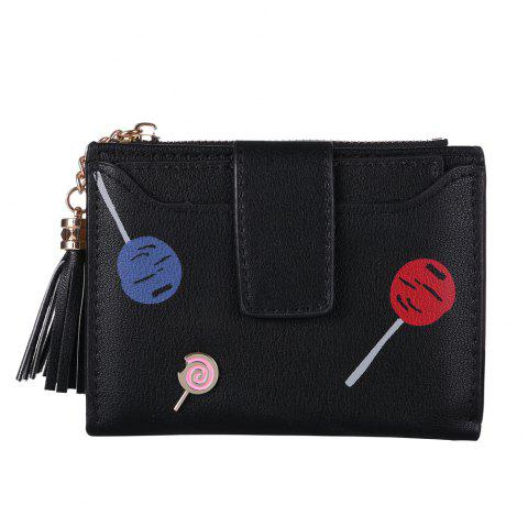 New Women'S Wallet Printing Pattern Solid Color Wallet Card Bag Purse - BLACK ONE SIZE