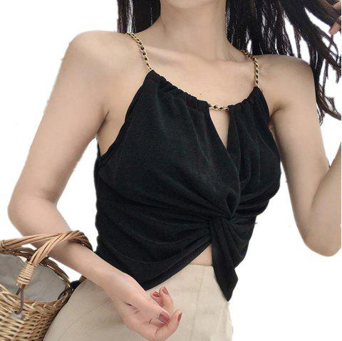 Women's Camisole Solid Color Halterneck Hollow Out Slip Top - BLACK ONE SIZE