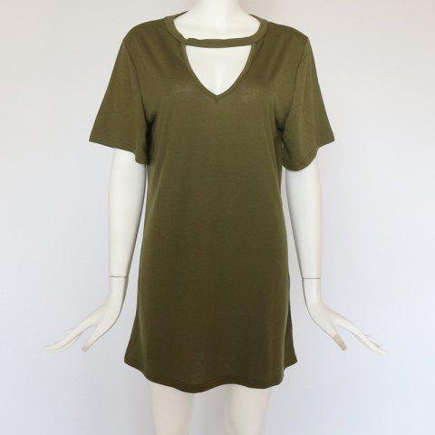 Sexy Deep V Short Sleeve T-Shirt Loose Casual Dress - ARMY GREEN M