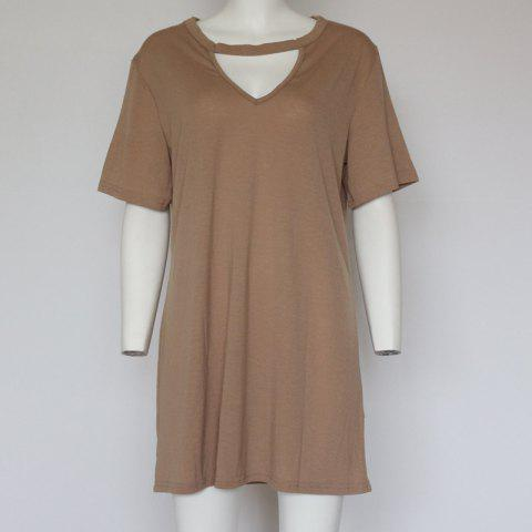 Sexy Deep V Short Sleeve T-Shirt Loose Casual Dress - KHAKI M