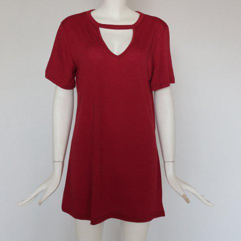 Sexy Deep V Short Sleeve T-Shirt Loose Casual Dress - RED WINE 3XL