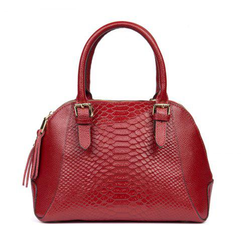 New Boa Pattern Leather Handbag European and American Fashion Handbags - RED