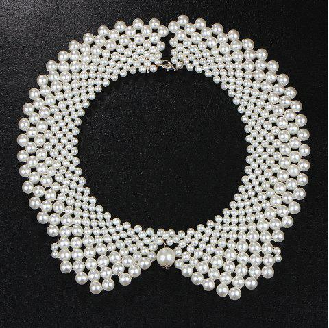 European Style Fashion Beads White Collar Necklace - WHITE 1PC