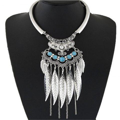 European Style Fashion Metal Vintage Simple Leaf Tassel Necklace - SILVER 1PC