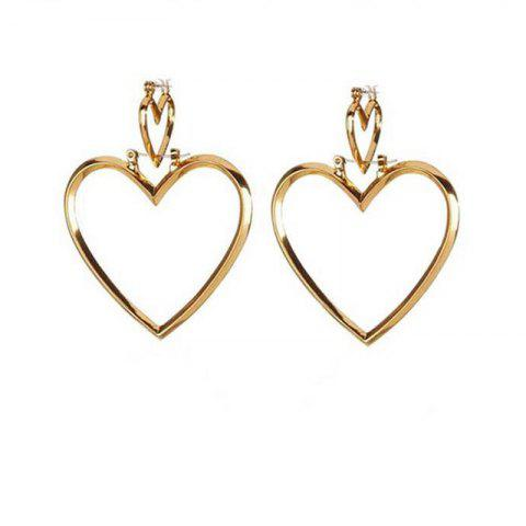 European Style Fashion Simple Hollow Double Heart Earrings - GOLD 1 PAIR