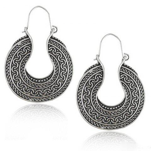 European Style Fashion Bohemian Vintage Round Exaggerated Earrings - SILVER