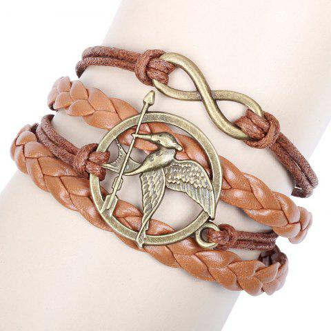 European Style Fashion Exotic 8 Words Infinite Bird Weave Multilayer Bracelet - BROWN 1PC