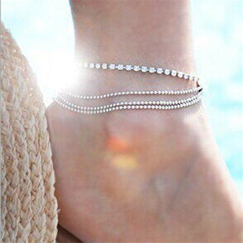 European Style Fashion Multi-Layer Metal Ball Chain Shiny Rhinestone Anklet - SILVER 1PC
