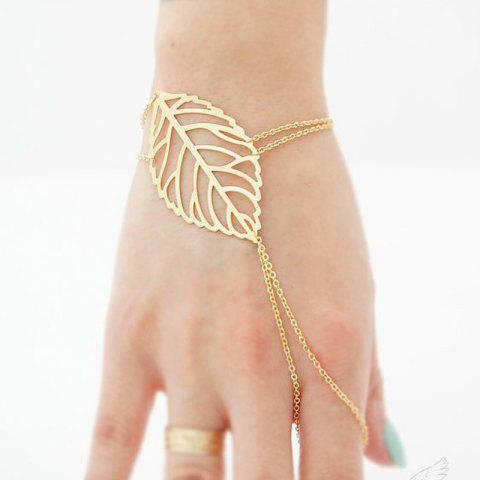 European Style Fashion Simple Leaf Bracelet with Ring - GOLD 1PC