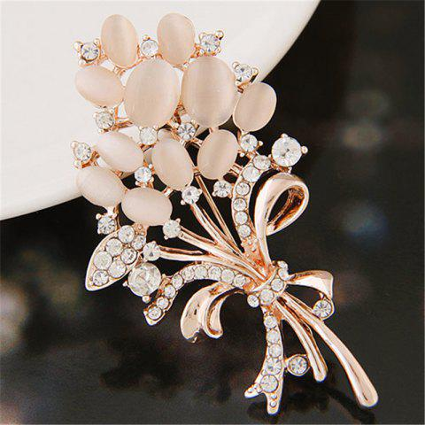 European Style Fashion Exquisite Shiny Rhinestone Flower Brooch - GOLD 1PC