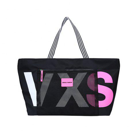 Large-Capacity  Cloth Casual Mummy Bag Stylish Letter Striped Tote Shoulde - BLACK REGULAR