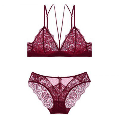 Bralette/Triangle Cup/French Sexy/Lightweight Breathless/ Bra Suit - RED WINE 80C