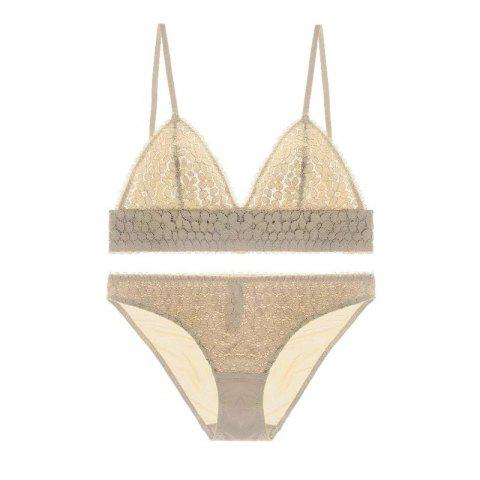 Triangular Cup / Sexy Lace / Thin / No Ring Bra Set - Beige 85A