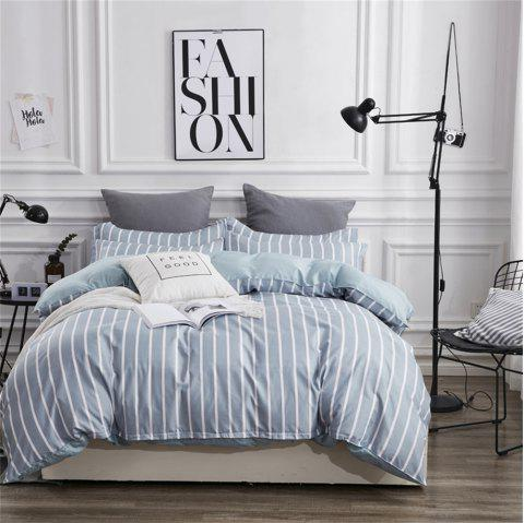 OMONNESFour Sets of Crisp Sheets on The Bed with Blue and White Stripes - PALE BLUE LILY QUEEN SIZE
