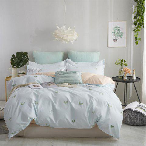 OMONNES Four Sets of Crisp and Simple Bed Sheets with Green Buds on The Bed - GRAY GOOSE SINGLE