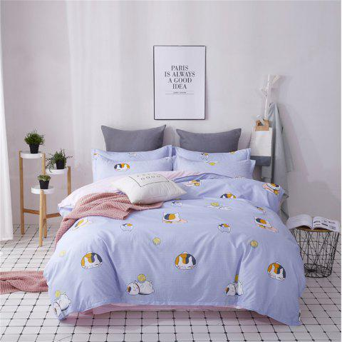 OMONNES Four Sets of Crisp and Simple Sheets on The Bed Are Meowing - LAVENDER BLUE KING SIZE