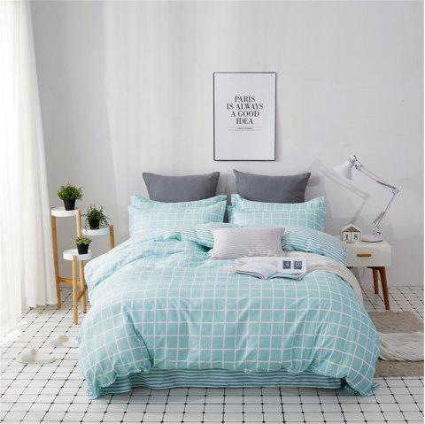 OMONNES Four Sets of Fresh and Simple Sheets on The Bed Are Adolescent - CYAN OPAQUE DOUBLE