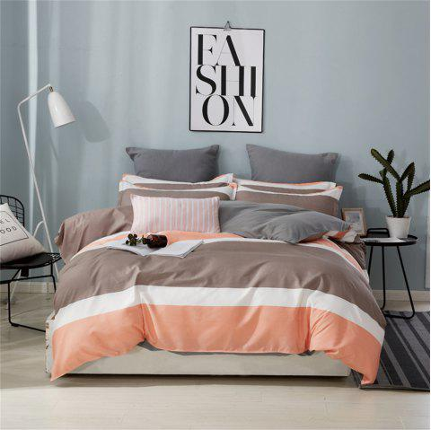 OMONNES Four Sets of Crisp Sheets and Quilts on The Bed with Striped Oranges - TANGERINE TWIN SIZE
